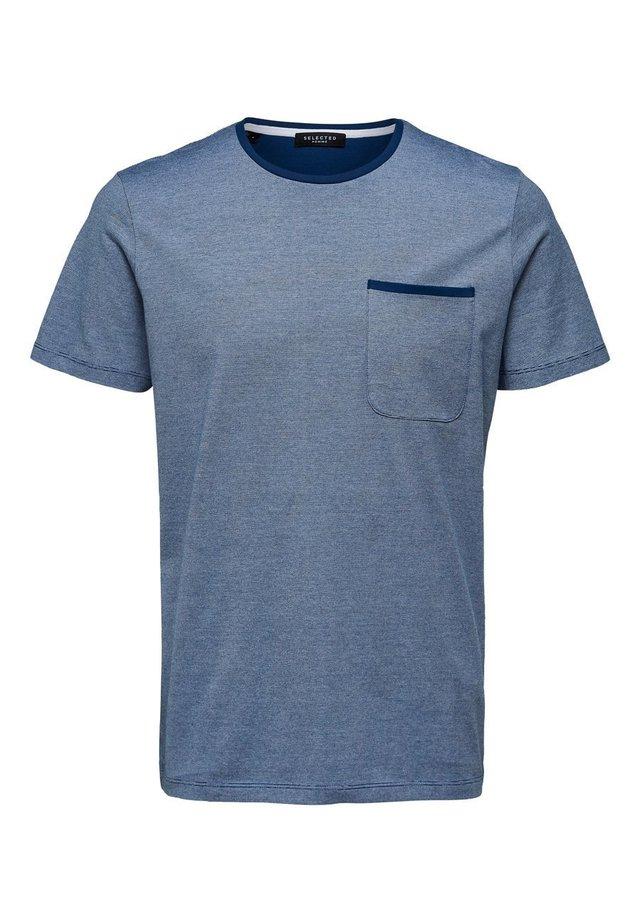 RUNDHALSAUSSCHNITT - Basic T-shirt - navy peony