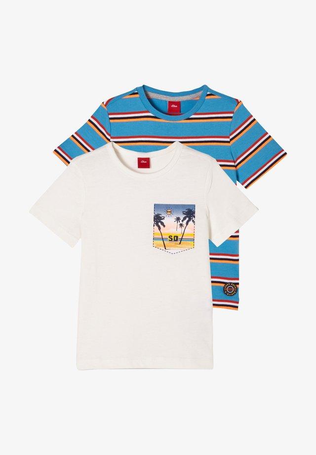 T-shirt print - offwhite/turquoise stripes