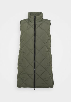 NMFALCON LONG VEST - Vest - dusty olive/black