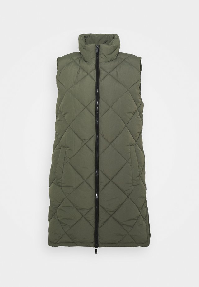 NMFALCON LONG VEST - Waistcoat - dusty olive/black