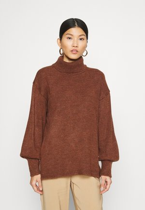 Long line turtle neck - Jumper - brown