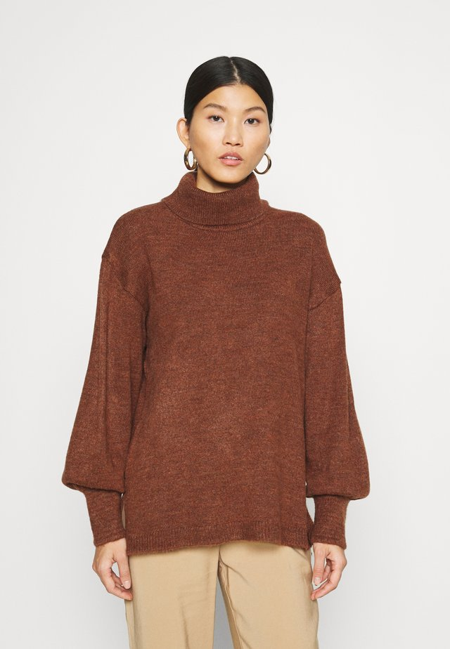 Long line turtle neck - Maglione - brown