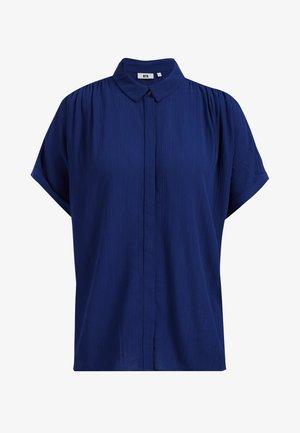 MET STRUCTUUR - Button-down blouse - dark blue