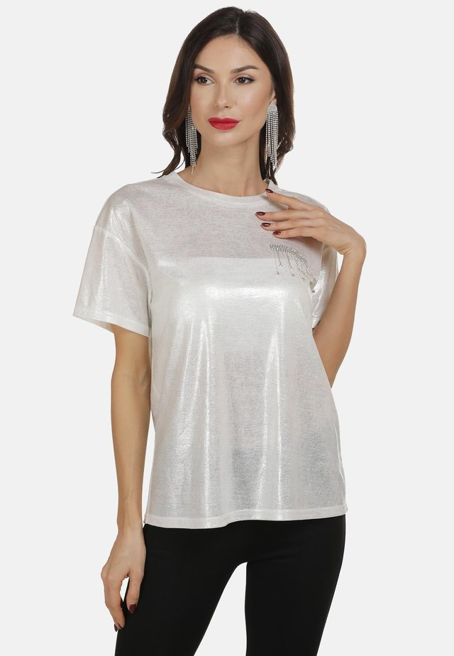 T-shirt print - weiss glitzer