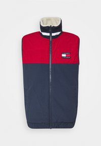 Tommy Jeans - REVERSIBLE RETRO VEST - Waistcoat - light silt/wine red - 0