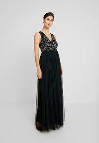 Maya Deluxe - SLEEVELESS WRAP FRONT MAXI DRESS - Společenské šaty - black - 1