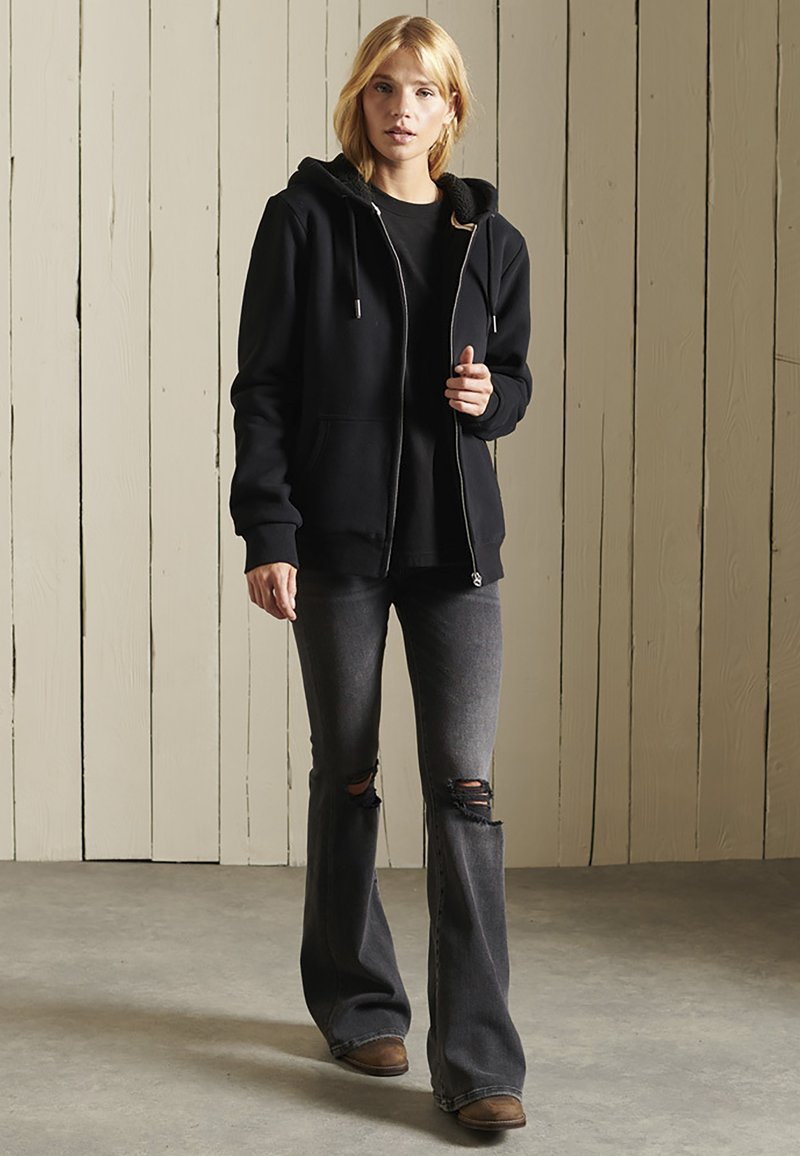 Superdry - BORG LINED - Zip-up sweatshirt - black