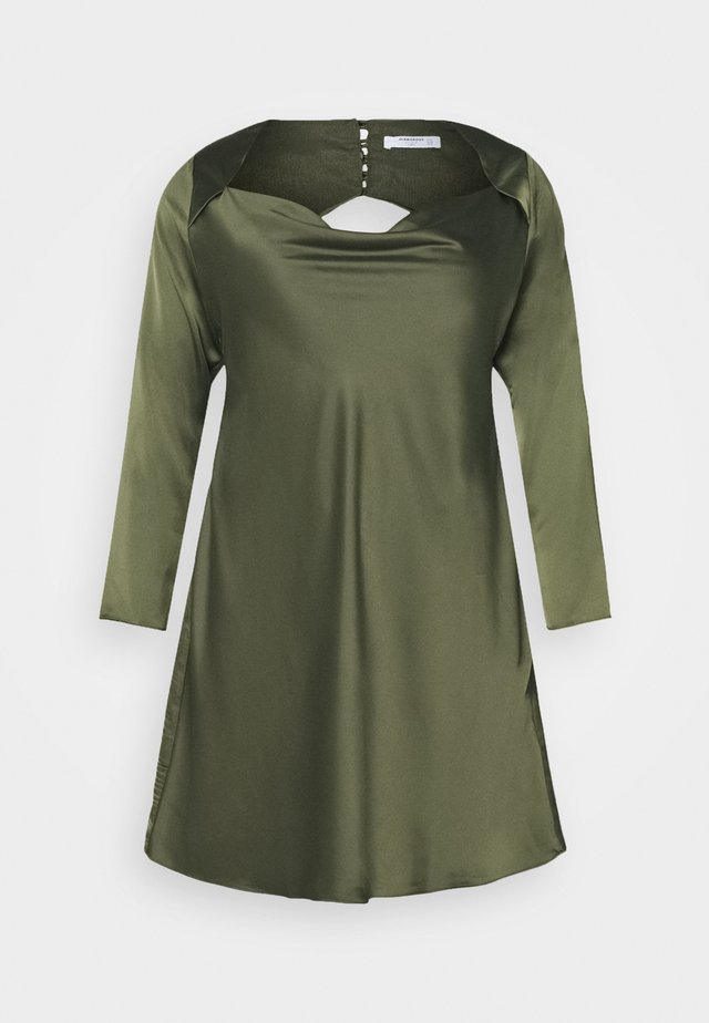 MINI DRESS WITH LONG SLEEVES SQUARE NECK AND CUT OUT BACK - Cocktailkjoler / festkjoler - forest green