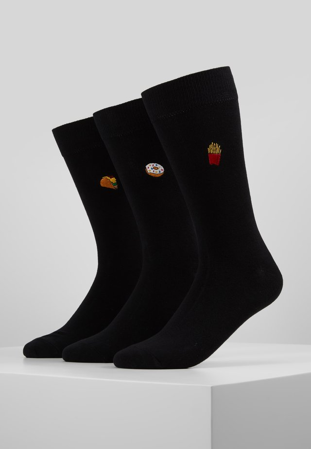 EMBROIDERED FAST FOOD SOCKS 3 PACK - Socken - black