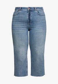 Simply Be - RAW HEM CROP WIDE LEG JEANS - Jeans Skinny Fit - bluewash - 4