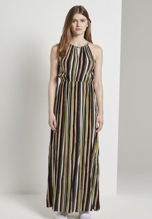 KLEIDER & JUMPSUITS GESTREIFTES NECKHOLDER-KLEID IN MAXI-LÄNGE - Maxi dress - black multicolor stripe