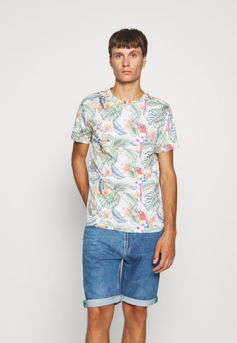 Jack & Jones - JORTROPICALBIRDS TEE CREW NECK - T-shirts print - cloud dancer