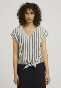TOM TAILOR DENIM - Blouse - black beige stripe - 0
