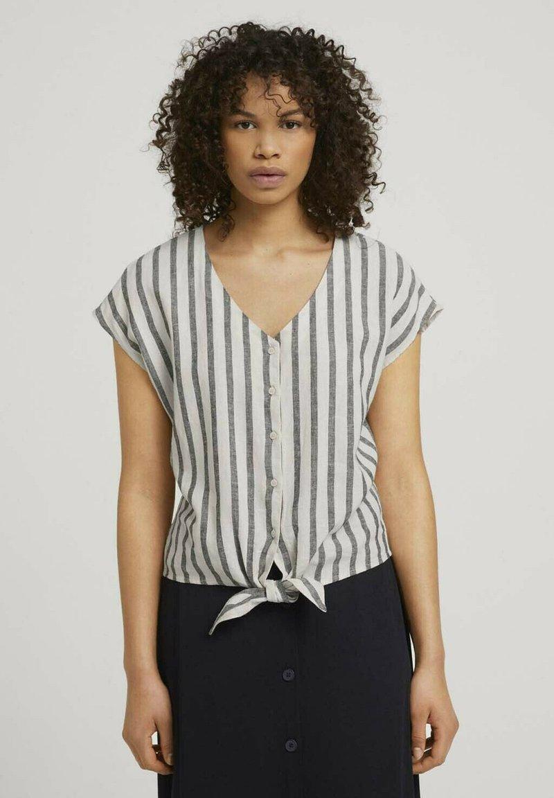 TOM TAILOR DENIM - Blouse - black beige stripe