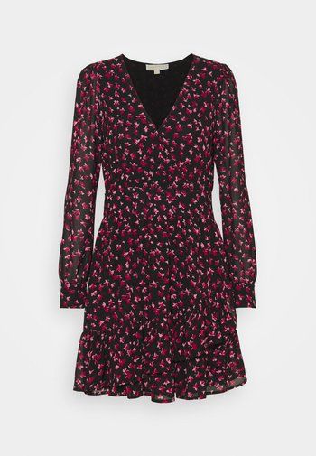 FLORAL PRINTED MINI DRESS  - Korte jurk - berry