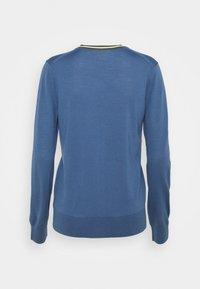 Tory Burch - COLOR BLOCK MADELINE CARDIGAN - Cardigan - shadow blue/bristol green - 1