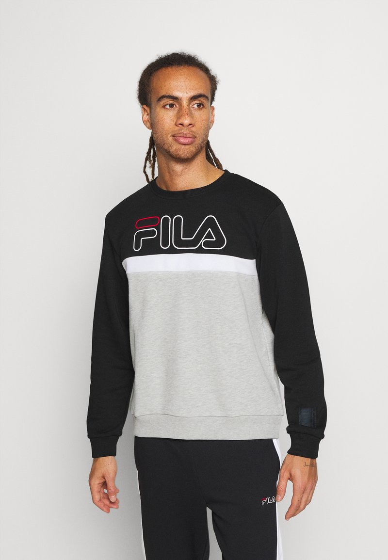Fila - LAURUS CREW - Sweatshirt - light grey melange/black/bright white