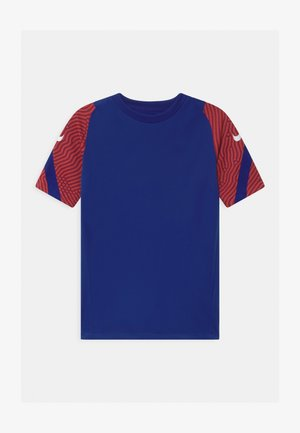 Print T-shirt - deep royal blue/dark beetroot/white
