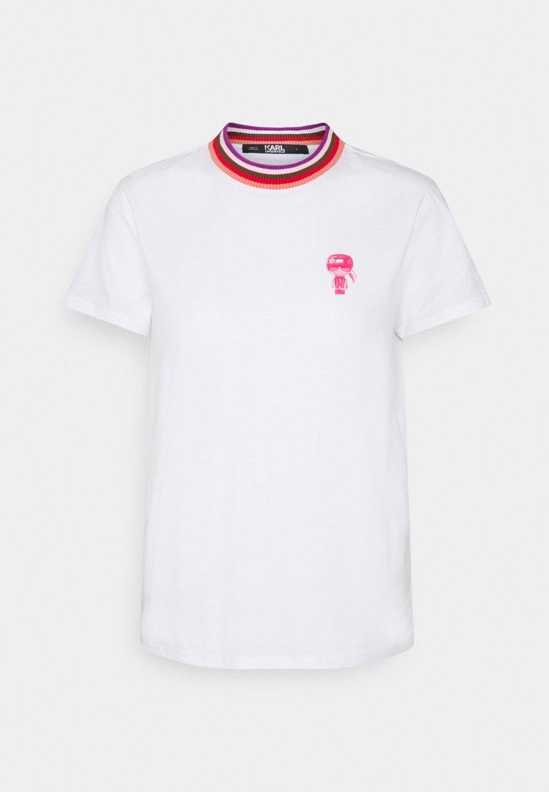 KARL LAGERFELD - STRIPE IKONIK - Print T-shirt - white