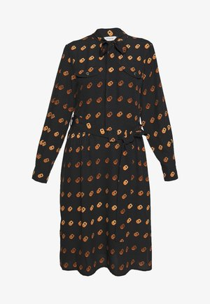 POP TIE NECK DRESS - Shirt dress - black/orange