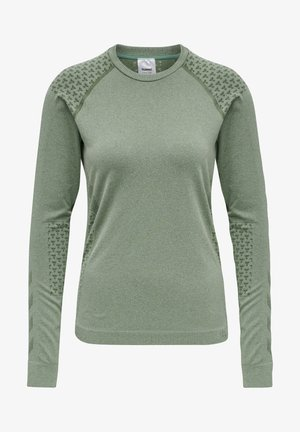 SEAMLESS T-SHIRT L/S - Long sleeved top - thyme melange