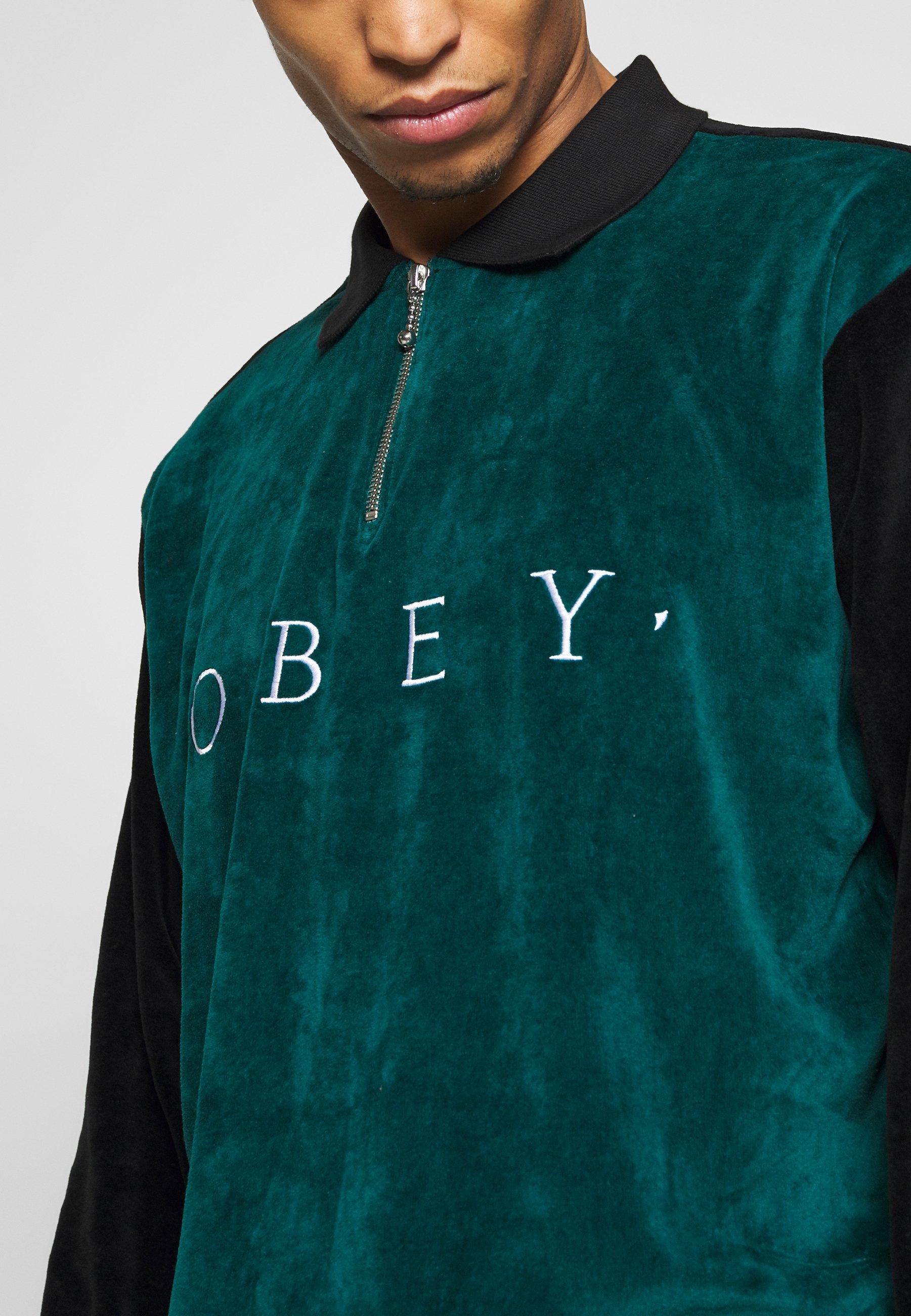 Zakup Gorąca wyprzedaż Obey Clothing AVENUE ZIP - Koszulka polo - black multi | Odzież męska 2020 KWpcr