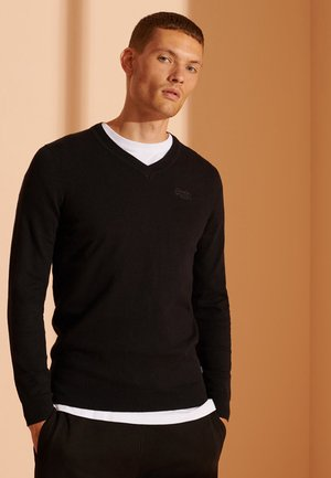 ORANGE LABEL V-NECK - Jumper - black