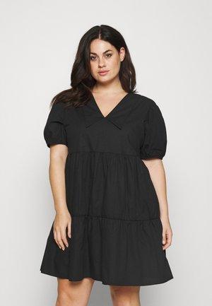 WIDE COLLAR MINI DRESS - Vestito estivo - black