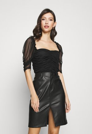 RUCHED FRONT SHORT SLEEVE MILKMAID - Blouse - black