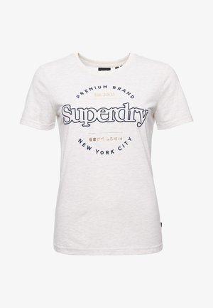Print T-shirt - oatmeal marl