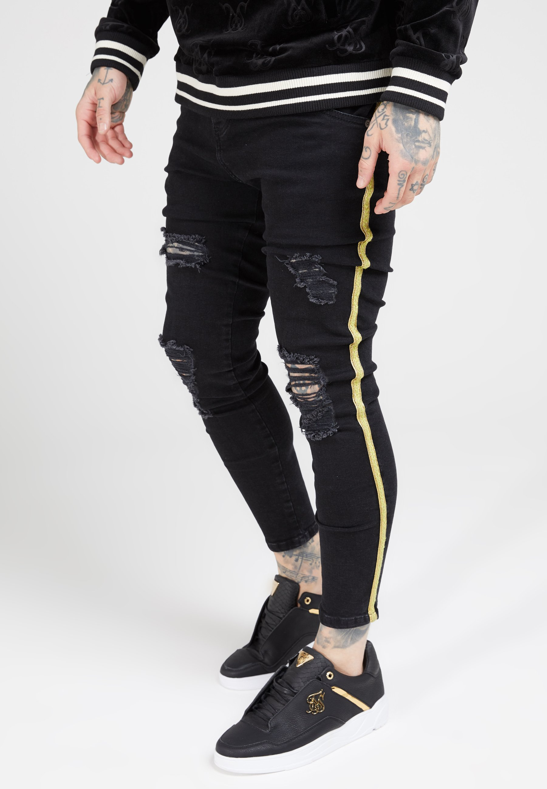 SIKSILK DISTRESSED TAPED - Jeans Skinny Fit - washed black