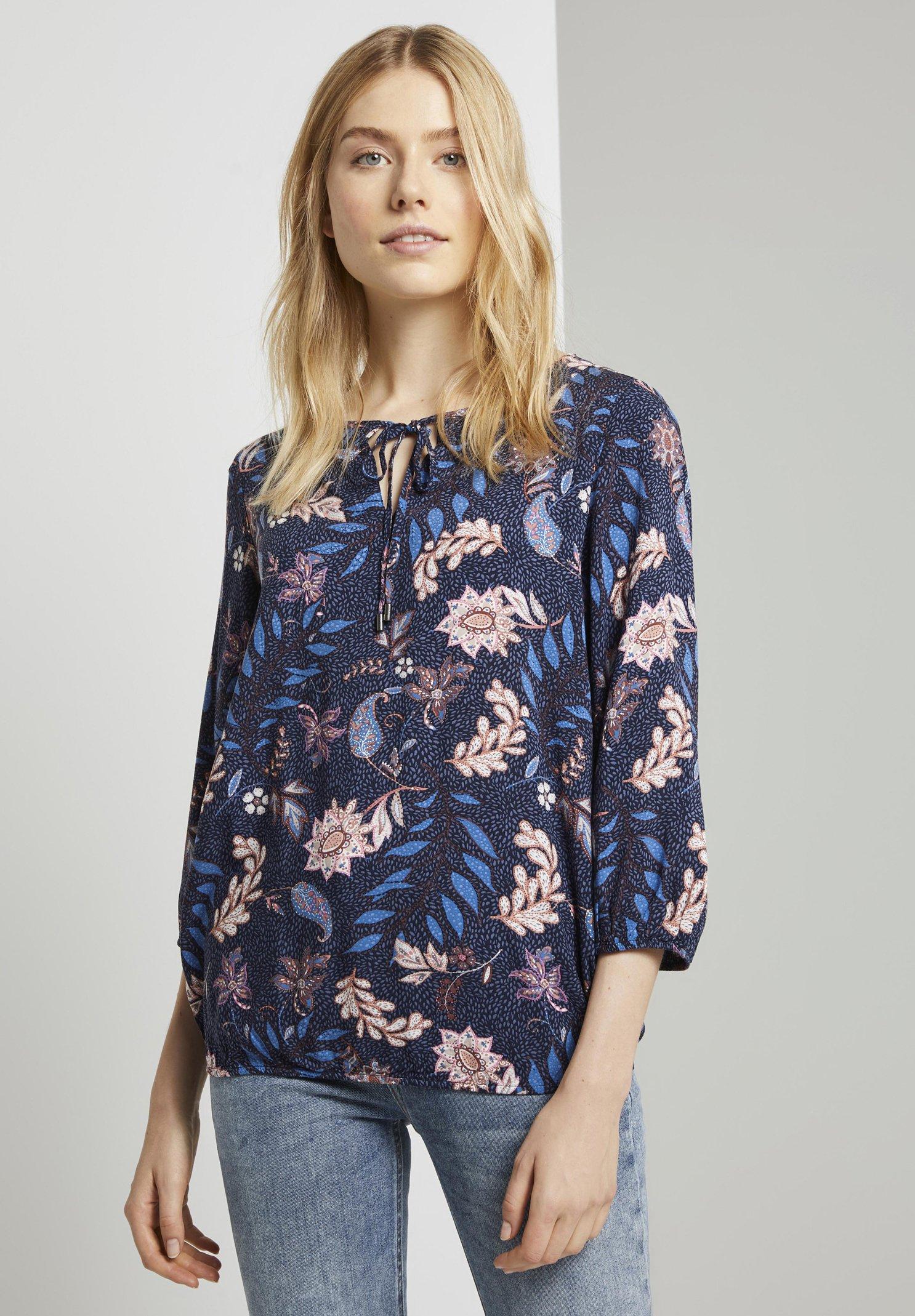 TOM TAILOR Blouse - navy floral design - Dameskleding Oprecht