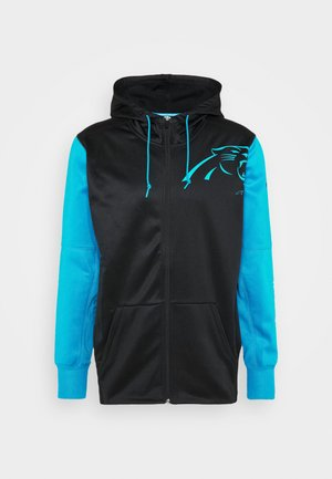 NFL CAROLINA PANTHERS LEFT CHEST MASCOT FULL ZIP THERMA - Klubbkläder - black/tidal blue