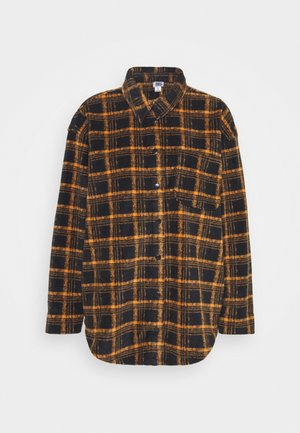 BRUSHED CHECKED SHACKET - Button-down blouse - orange
