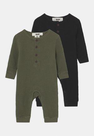 WAFFLE ROMPER 2 PACK - Pyjamas - beetle green/black