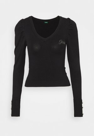 CAROLE V-NECK - Jumper - jet black