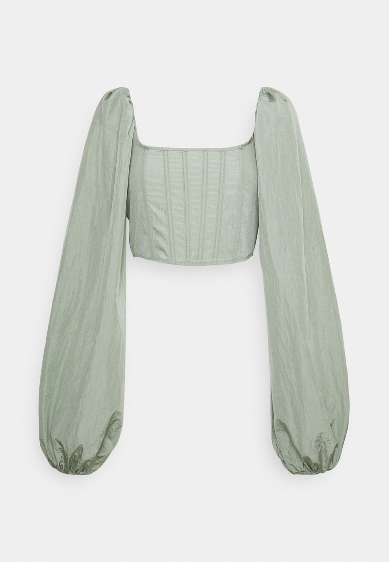 Missguided - BALLOON SLEEVE CORSET  - Long sleeved top - sage