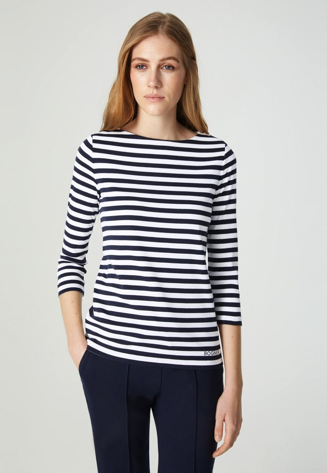 LOUNA - Top sdlouhým rukávem - navy-blau weiß