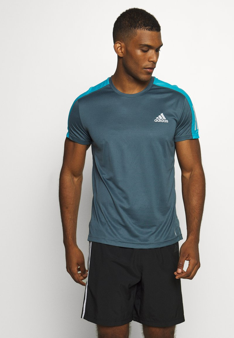 adidas Performance - RESPONSE RUNNING SHORT SLEEVE TEE - Camiseta estampada - dark blue