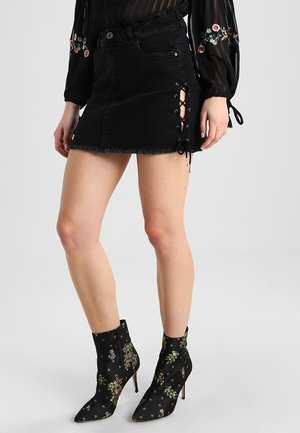 LACE UP SKIRT - Denimová sukně - black washed