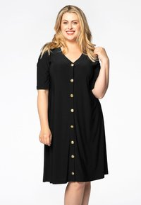 Yoek - SHORT SLEEVE - Shirt dress - black - 0
