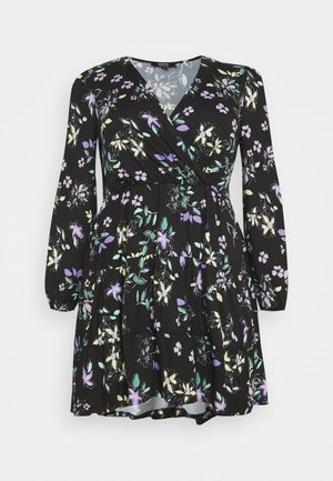 PRINTED TIERED WRAP FRONT SKATER - Day dress - black