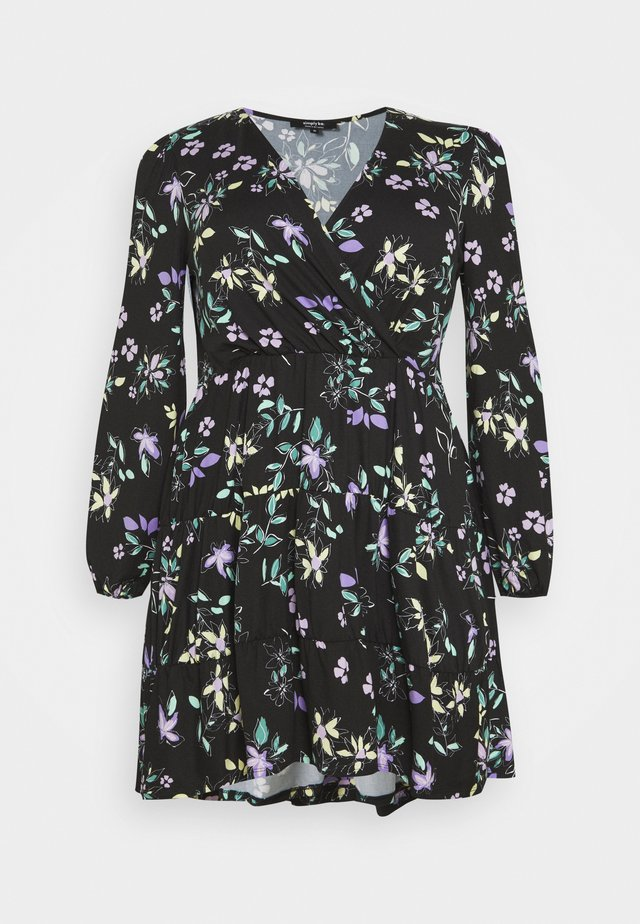 PRINTED TIERED WRAP FRONT SKATER - Korte jurk - black