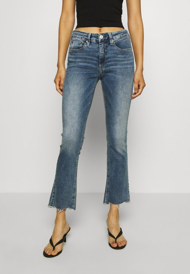 SUPER BOOT CROPPED STRETCH - Bootcut jeans - mezzo