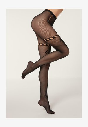 MIT INDISCHEM MOTIV AUS Q-NOVA - Tights -  black indian fishnet