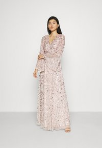 Maya Deluxe - ALL OVER 3D EMBELLISHED DRESS WITH BELL SLEEVE - Iltapuku - pearl pink - 1