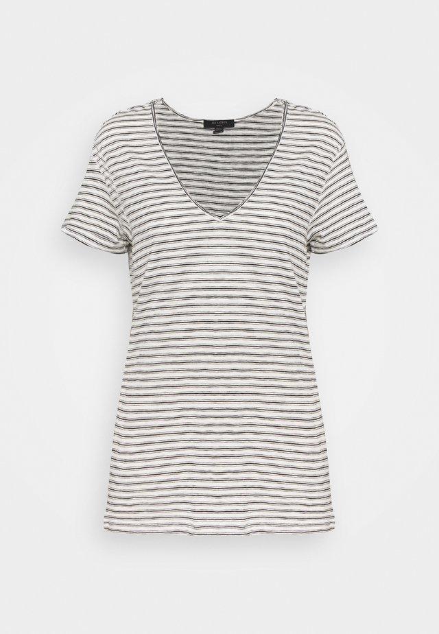 EMELYN STRIPE TEE - Print T-shirt - ecru/black