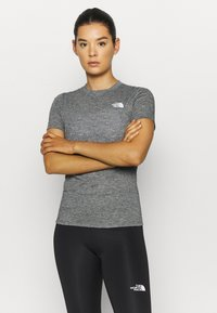 The North Face - W ACTIVE TRAIL WOOL  - Print T-shirt - black heather - 0