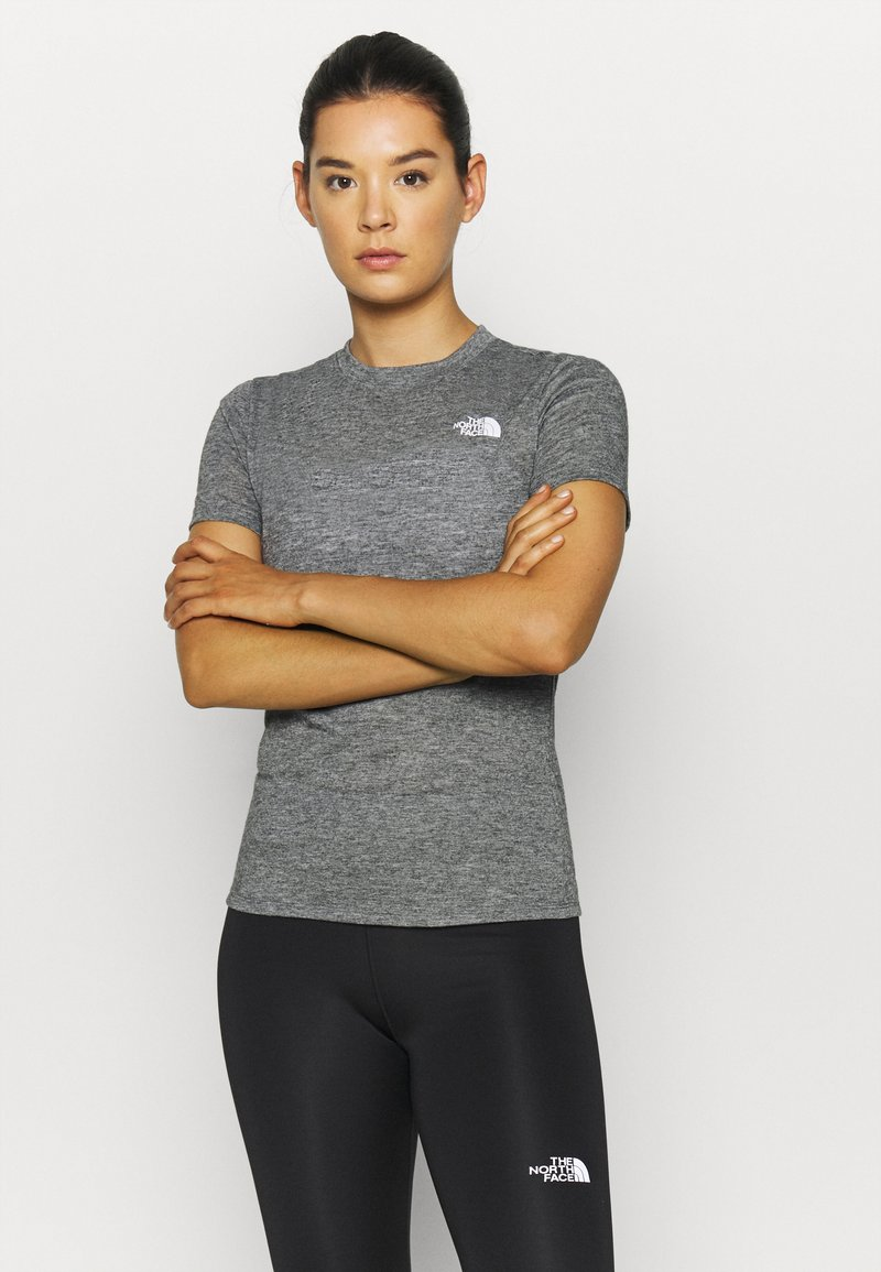 The North Face - W ACTIVE TRAIL WOOL  - Print T-shirt - black heather