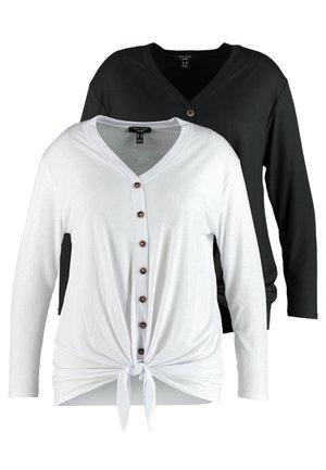2 PACK BUTTON THROUGH TIE FRONT  - Bluzka z długim rękawem - black/white